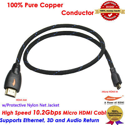 Up to 10.2Gbps Micro HDMI Cable Adapter Converter for GoPro 4 HERO 3 HTC EVO 4G