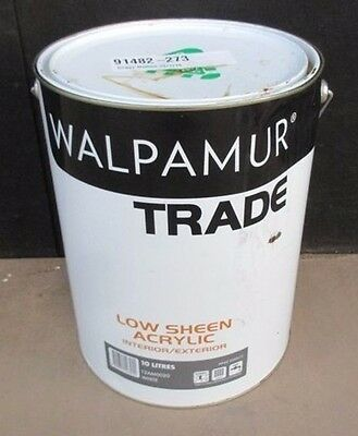 Walpamur Trade Low Sheen 10L Acrylic Interior Exterior White Can Freight Paint