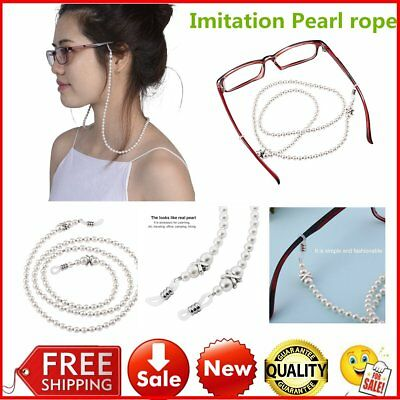 White Pearl Beaded Sunglass Reading Glasses Eyeglasses Chain Cord Holder Rope AU