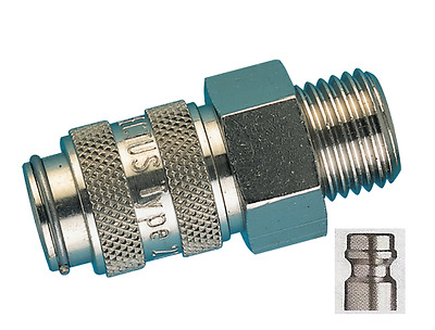 """Quick Release Valved Male Coupler 1/4""""bspp Male Rectus 21KA Series"""