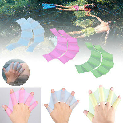 Silicone Swimming Hand Fins Flippers Swim Palms Finger Webbed Gloves Paddle