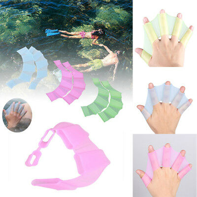 Swimming Hand Fins Silicone Flippers Swim Palms Finger Webbed Gloves Paddle