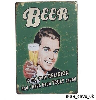 Funny Beer Sign - Vintage Retro Tin Metal Wall Sign  - Pub - Home Bar - Man Cave