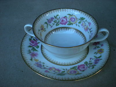 C Ahrenfeldt/Limoges Double Handle Cup and Saucer C Reizenstein France