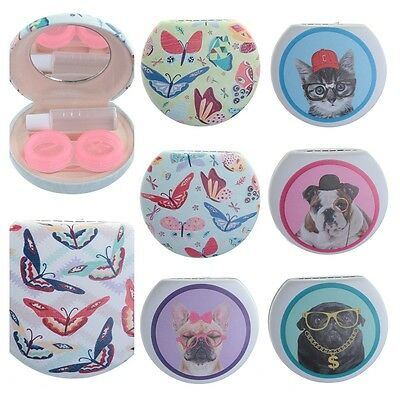 Cats & dogs or butterfly contact lens storage and solution case with mirror