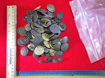Mix Bag Of 90 U.s. Military G.i. Uniform Buttons Used Condition Buyer Gets All!