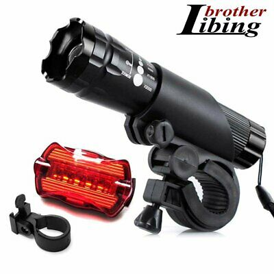 CREE Q5 LED Bike Bicycle Cycle Zoomable Torch Front Lights Safety Rear Lamp Set