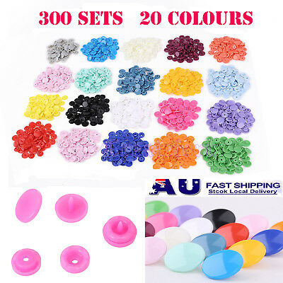 300 Set KAM Resin Snaps Buttons Stud Fasteners T5 For Crafts Baby Cloth Bib AU