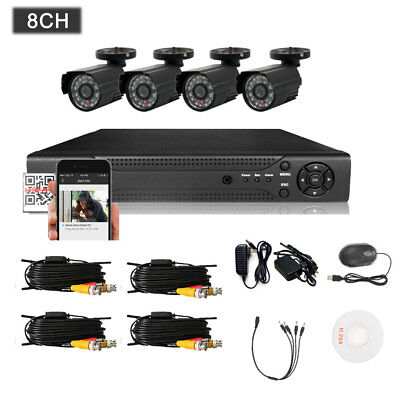 8CH CCTV DVR HD Outdoor Home Security Video Camera System Night Vision Motion