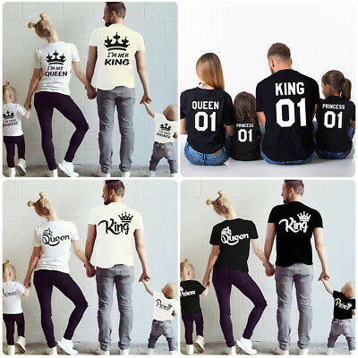 Family Matching Shirts Father Mother Daughter Son King Queen Prince Princess Top