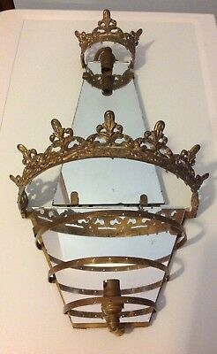 Vintage/Antique French Wall Chandelier Brass Frame