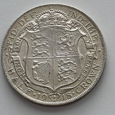 1918 Half Crown, Uncirculated, George V, UK, Great Britain, England