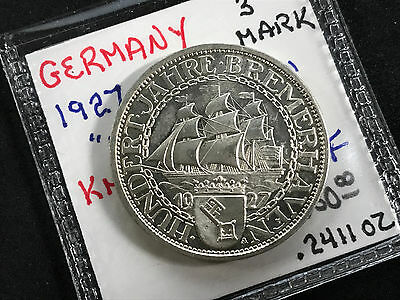 1927-A Germany Weimar Republic 3 Mark Km#50 Proof