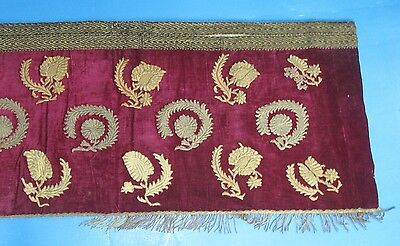 Antique Velvet Metallic Couched Embroidery Valance Pelmet Tassels