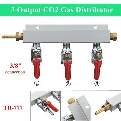3-Way CO2 Air Distributor Manifold with Check Valves Brass 3/8 Inch Barb 3 Outpu
