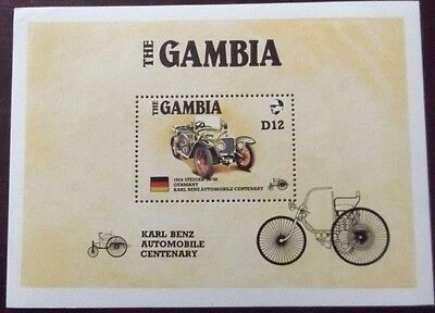 Gambia Karl Benz Automobile Centenary Souvenir Miniature Sheet Mint Mnh Umm