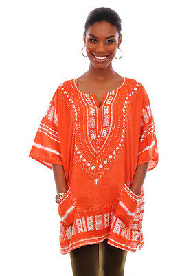 Coral Orange African Dashiki Shirt DP3541W