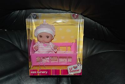 JC Toys Berenguer Lil Cutesies Mini Nursery Collection Baby in Crib, New