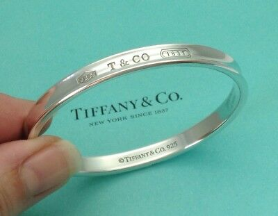 Tiffany & Co. Sterling Silver 1837 Oval Bracelet Bangle Size Small