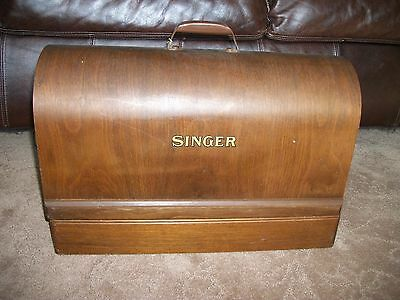 Vintage 20's Singer Sewing Machine coffin wood dome handle full size case no key