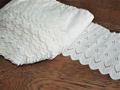 "Antique White Eyelet Trim~5"" wide~Broderie Anglaise Lace~Unused Large Bolt"
