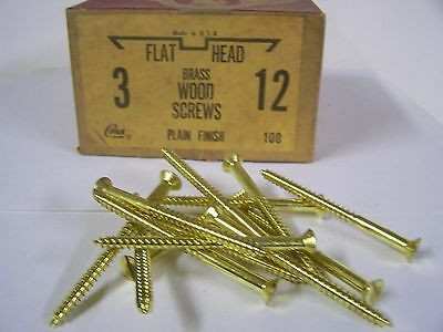 """#12 x 3"""" Flat Head Solid Brass Wood Screws Slotted Made in USA Qty. 100"""