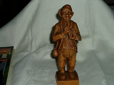 Vintage Hand Carved Wooden Music Man, Resin? Wood?