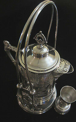 Rare Antique Victorian Pairpoint Mfg Quadruple Plate Tilting Ice Water Pitcher