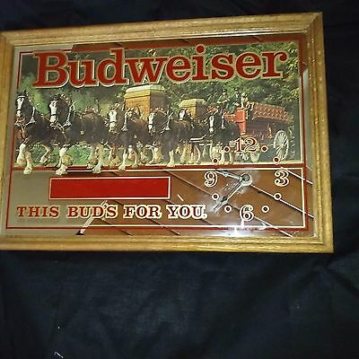 "Vintage Budweiser Mirror Sign And Clock 19X13"" - Clock Works"