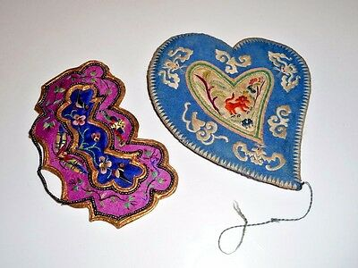 VINTAGE JUNK DRAW  ~  TWO Antique Chinese Silk Embroider Appliques