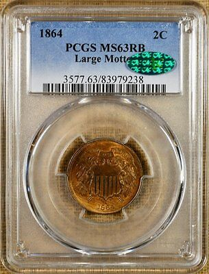 1864 Large Motto PCGS MS63 RB Two Cent Piece - PQ!!! - CAC Stickered