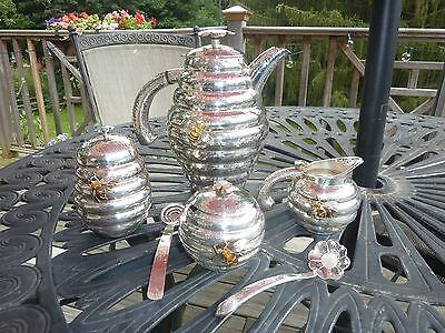 Extremely Rare Emilia Castillo Hand Hammered Mexican Bee Hive Sterling Tea Set