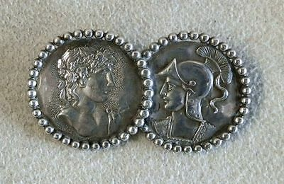 Shiebler Sterling Silver Roman Double Medallions Brooch Pin Back