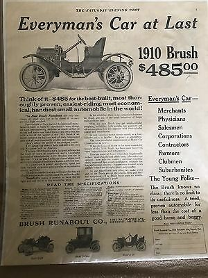Vintage Auto Advertisement, 1910 Brush Car Advertisement, The Saturday Evening P