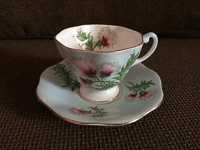 Vintage Foley Bone China ~ Glengarry Thistle Tea Cup And Saucer