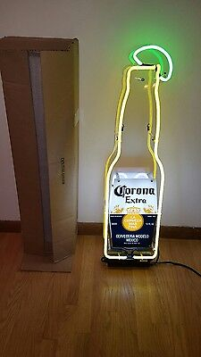 (L@@k) Corona Beer Bottle With Lime Neon Light Up Sign Man Cave Bar Pub Mib