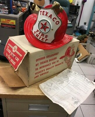 Vintage 1960's Texaco Fire Chief Hat Helmet Microphone Toy w/ Box VG Old Gas Oil