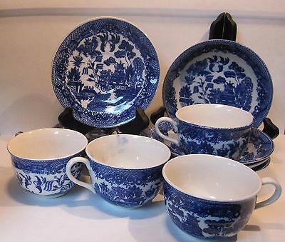 Set of 4 BLUE WILLOW Traditional Pattern Cups Saucers & Dessert Fruit Bowls