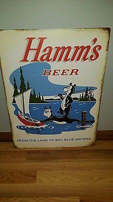 (L@@k) Hamms Beer Bear & Baby Bear Tin Sign Land Of Sky Blue Waters Game Room