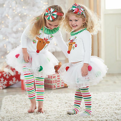 2Pcs Girls Kids Christmas Party T-shirt + Lace Tutu Skirt Pants Dress Outfit Set