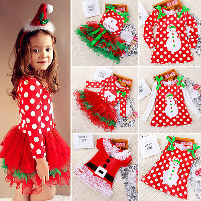 Kid Baby Girls Santa Christmas Party Princess Long Sleeve Tulle Tutu Dress Skirt