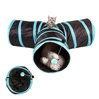 Akemiao Cat Tunnel 3 Way Collapsible Kitten Tube Pet Toys... *SAME DAY DESPATCH*