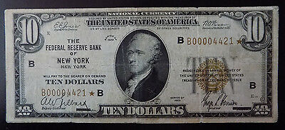 1929 $10 New York Federal Reserve Bank STAR note Fine Fr 1160-B* LOOK!