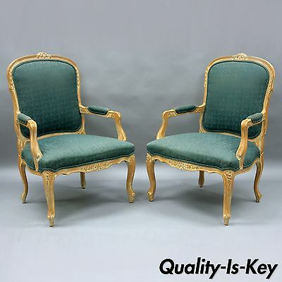 Pair Country French Louis XV Style Living Room Arm Chairs Vtg Distress Finished