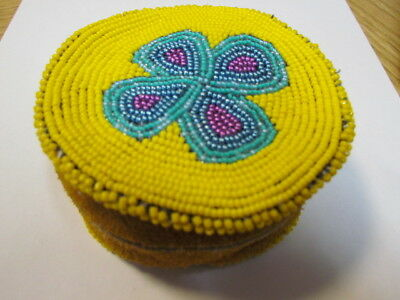 Native American- Fully Beaded Flower Soft Moose Hide 4 In Round Change Purse