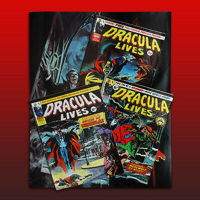MARVEL DRACULA LIVES No.1, 2 & 3 COMICS plus POSTER - ALL EXC. CONDITION