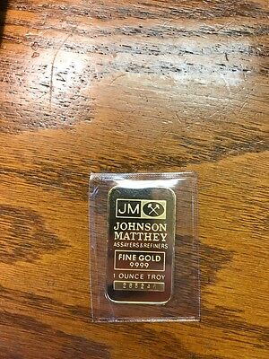 Rare Original Sealed  1 oz Johnson Matthey Assayers Refiners 9999 Fine Gold Bar
