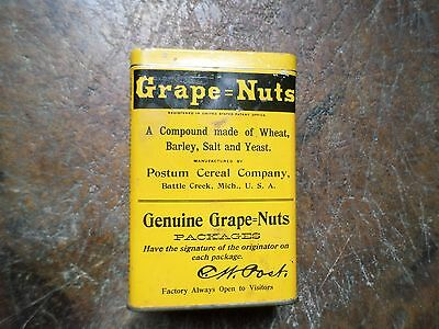 Vintage Grape-Nuts Cereal Tin Container & Lid