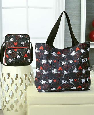 DISNEY MICKEY MOUSE BLACK RED LARGE PURSE OVERNIGHT TOTE CROSS BODY BAG Travel