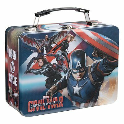 CLEARANCE - Marvel CAPTAIN AMERICA Civil War Large Tin Tote / Metal Lunch Box